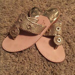 Jack Rogers gold glitter sparkly sandals flip flop